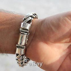Men's Biker Heavy Wide Bracelet Solid 925 Sterling Silver Big Size 7.5 8 9.5 10