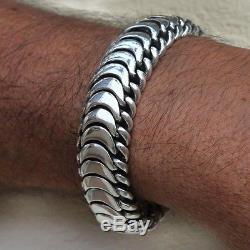 Men's Biker Heavy Wide Bracelet Solid 925 Sterling Silver Size 7 7.5 8 8.5 9 10