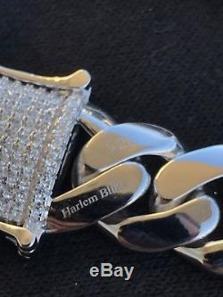 Men's Cuban Miami Link Diamond Bracelet 14k White Gold Over 925 Sterling Silver