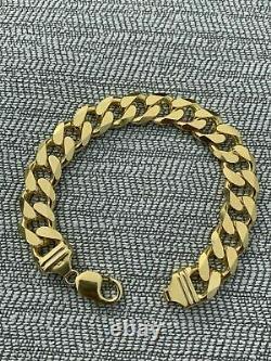 Men's Miami Cuban Link Bracelet 14k Gold Over Solid 925 Sterling Silver 14mm 53g