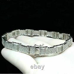 Men's Round Diamond Chain Link tennis 14K White Gold Over Silver 8.25 Bracelet