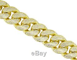 Men's Sterling Silver Yellow Gold Miami Cuban Link Simulated Diamond Bracelet 8