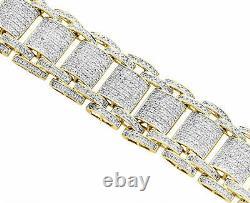 Mens 10K Yellow Gold Over Diamond 21mm Fancy Statement Bracelet 8.5 4.63 CT