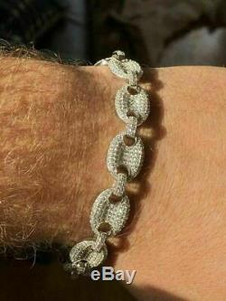 Mens 12mm Gucci Link Bracelet Solid 925 Sterling Silver ICY Lab Diamond 6-9