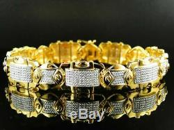 Mens 14k Yellow Gold Finish 7.00 Ct Round Cut Diamond Bracelet 8