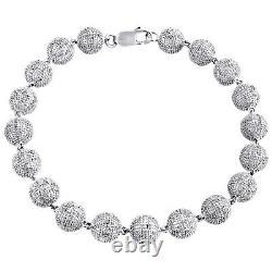 Mens 3D Beaded 8mm Ball Diamond Cluster Bracelet Sterling Silver 8 Bead 3.50 CT