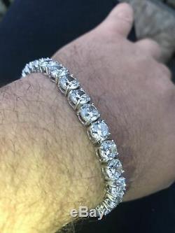 Mens 5ct Lab Diamond Single Row Tennis Bracelet Solid 925 Sterling Silver 7 Inch