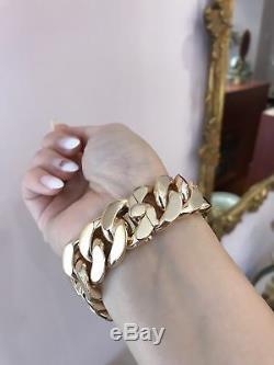 Mens Cuban Link BRACELET 7.30 925 Sterling Silver 14K Yellow GOLD OVER