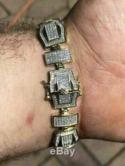Mens Custom Bracelet 14k Yellow Gold Over Solid 925 Silver 10ct Manmade Diamonds