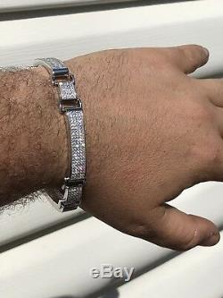 Mens Custom Made Bracelet Solid 925 Silver 12ct Diamonds 12mm Thick ICED OUT