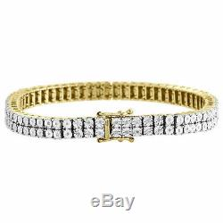 Mens Diamond 2 Row Tennis Link Bracelet 10k Yellow Gold Over 925 Sterling Silver