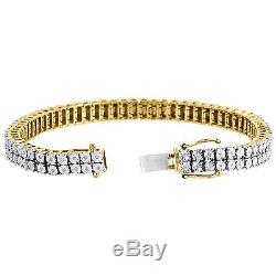 Mens Diamond 2 Row Tennis Link Bracelet Yellow Finish Sterling Silver 0.27 ct