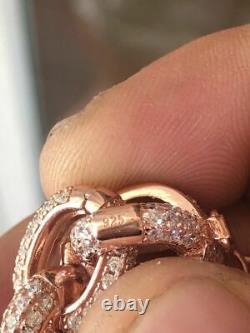 Mens Iced Hip Hop Rolo Bracelet Rose Gold & Real Solid 925 Silver Diamonds 12mm