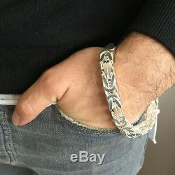 Mens King Byzantine Box Chain Bracelet 10mm 100GR 9Inch 925 Sterling Silver