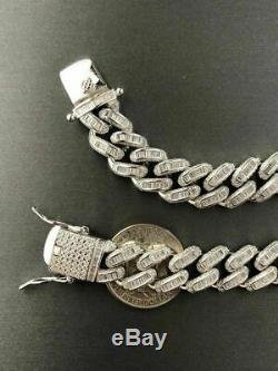 Mens Miami Cuban Link Bracelet Real Solid 925 Silver Baguette Diamonds Heavy