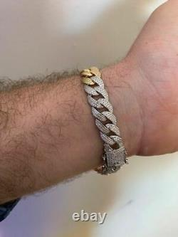 Mens Miami Cuban Link Bracelet Real Solid 925 Silver Diamonds 12mm Tri Color ICY