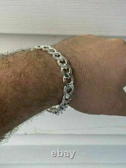 Mens Miami Cuban Link Bracelet Solid 925 Sterling Silver 8.5 11mm 38 Gram ITALY