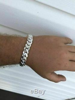 Mens Miami Cuban Link Bracelet Solid 925 Sterling Silver 8.5 12mm 67 Gram Italy
