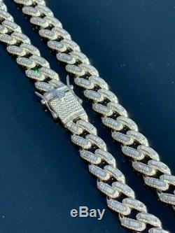 Mens Miami Cuban Link Choker Chain Real Solid 925 Silver Baguette Diamonds 18