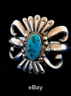 Mens Native American Sterling Silver Kingman Turquoise Cuff Bracelet Gift