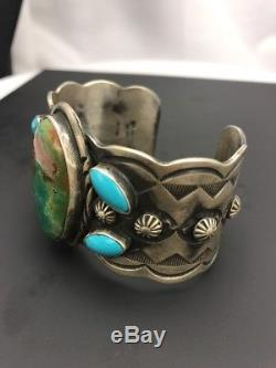 Mens Native American Sterling Silver Turquoise Cuff Bracelet Gift