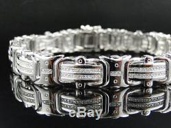Mens Pave 12 MM White Gold Finish Round Cut Genuine Diamond Bracelet. 50Ct 8.75