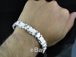 Mens Pave Set White Gold Finish Round Cut Genuine Diamond Bangle Bracelet 1.2Ct