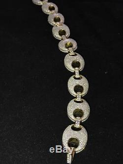 Mens Puffed Mariner Link Bracelet 14k Gold Over Real Solid 925 Sterling Silver