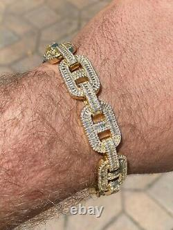 Mens Real 14k Gold Over Solid 925 Silver Baguette Gucci Link Bracelet Iced 15mm