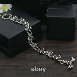 Mens Real 925 Sterling Silver Bracelet Link Chain Skull Loop Jewelry 9.1