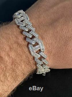 Mens Real Solid 925 Silver Baguette Cuban Prong Gucci Link Bracelet Hip Hop Iced