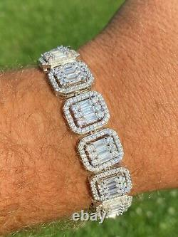 Mens Real Solid 925 Silver Baguette Iced Bracelet 15mm Thick Bust Down Diamonds