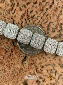 Mens Real Solid 925 Silver Baguette Tennis Bracelet Iced Diamond Flooded Out