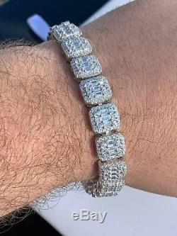 Mens Real Solid 925 Silver Baguette Tennis Bracelet Iced Out Diamond Hip Hop