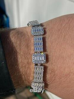 Mens Real Solid 925 Sterling Silver Baguette Bracelet Iced Diamond Flooded Out