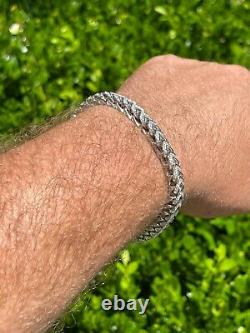 Mens Real Solid 925 Sterling Silver Men's Franco Bracelet 6mm Thick ICED Diamond