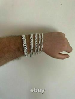 Mens Real Solid 925 Sterling Silver Miami Cuban Bracelet 5-12mm 7-9 Heavy Link