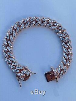 Mens Solid 925 Silver 14k Rose Gold Iced Miami Cuban Link Bracelet Heavy 75g 8