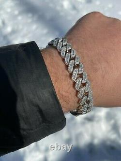 Mens Solid 925 Sterling Silver Baguette Prong Miami Cuban Bracelet Iced Diamond