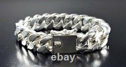 Mens Solid 925 Sterling Silver Miami Cuban Curb Link 8 Heavy Biker Bracelet