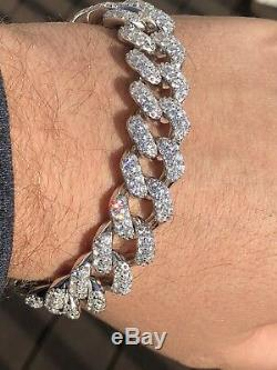 Mens THICK Miami Cuban Link Bracelet Solid 925 Silver Lab Diamonds 15mm 100g ICE