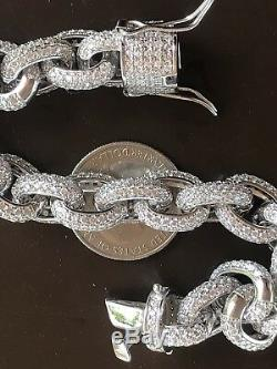 Mens Thick Iced Out Hip Hop Rapper Rolo Bracelet Solid 925 Silver Diamonds ICY