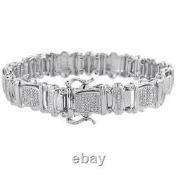 Mens White Diamond Bracelet. 925 Sterling Silver 0.85 Ct