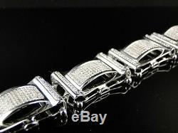 Mens White Gold Finish Genuine Diamond Bracelet 8.5 Inch 2.52 Ct