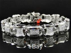 Mens White Gold Finish Genuine Diamond Round Pave Bracelet Bangle 8.5 Inch