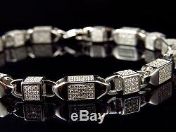 Mens White Gold Sterling Silver 3D Lab Diamond Bullet Chain Bracelet 6mm 8.5
