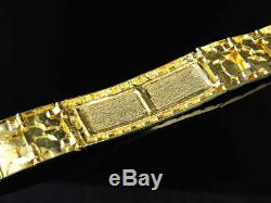 Mens and Ladies 14K Yellow Gold Over 8 Inches Nugget Style ID Bracelet