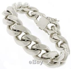 Miami Cuban Biker 67 Gms Mens Heavy Chain Bracelet In 925s Sterling Silver 14 MM