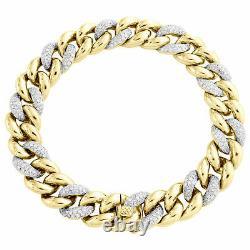 Miami Cuban Diamond Bracelet Mens 10K Yellow Gold Over 8.5 Pave Round Cut 4 Ct