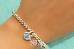 Mini Heart Tag Bead Ball Bracelet Tiffany Enamel 925 Solid Sterling Silver 16cm